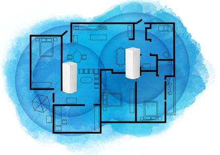 Een modulair Velop-systeem biedt een grotere dekking naarmate u meer nodes toevoegt.