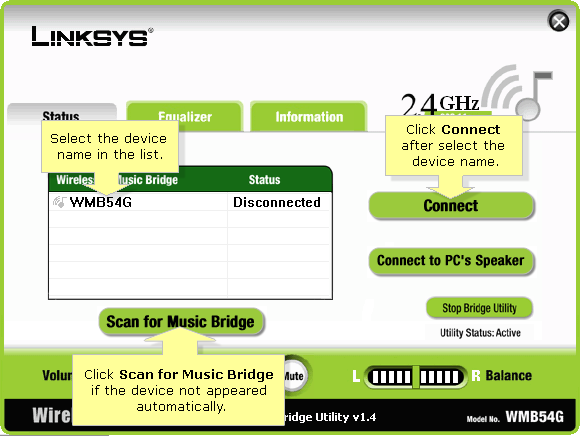 Linksys official support setting up the wmb54g wireless-g music.
