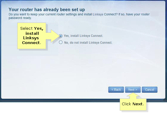 Can I reinstall my linksys wireless router?