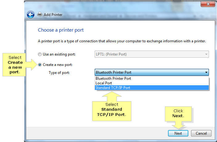 how to add a tcp ip printer in windows 7