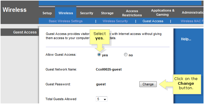 how to change wireless password daily guest