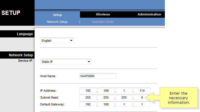 Linksys Ip Address >> Linksys Official Support Changing Your Linksys Wap300n S Lan Ip
