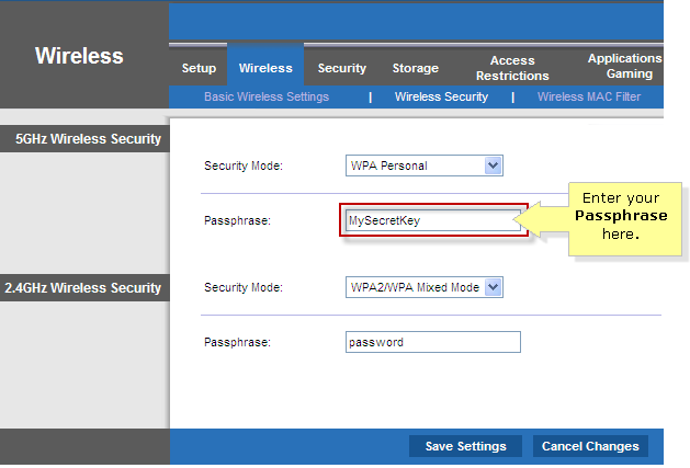 linksys official support setting up wpa wireless security on a