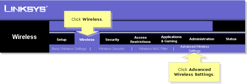 Linksys Official Support - Identifying the Advanced Wireless ...