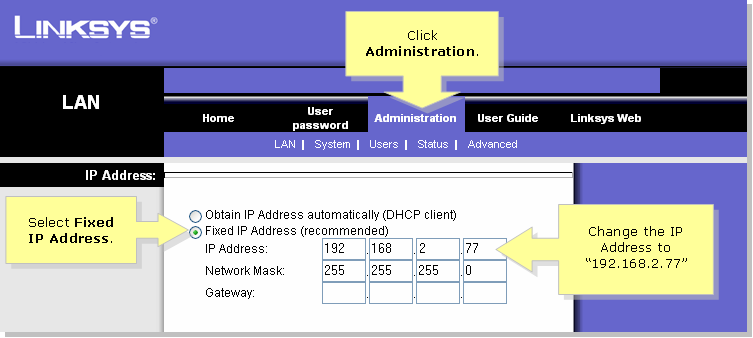 Linksys Ip Address >> Linksys Official Support Changing The Nas Lan Ip Address
