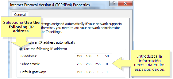 nota el gateway predeterminado default gateway es la direccin ip de su router local
