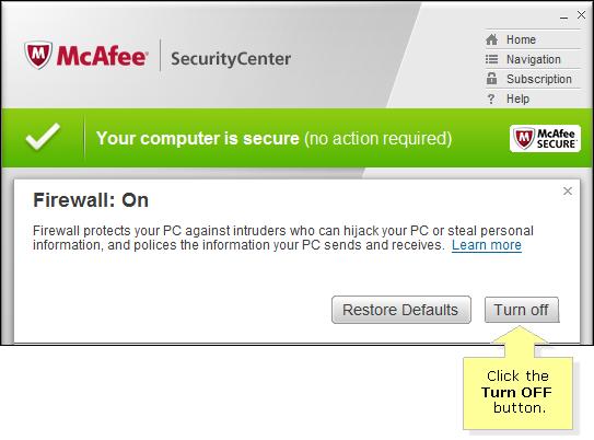 mcafee firewall keeps turning off